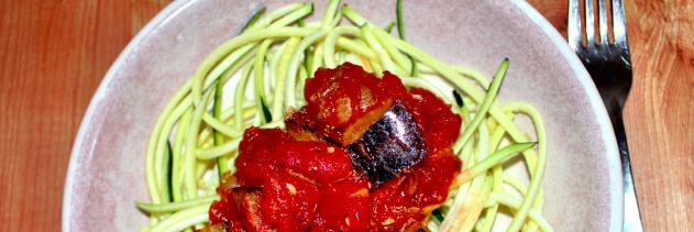 """Zucchini """"Spaghetti"""" with Eggplant Chicken Sauce"""
